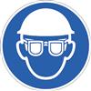 Augenschutz und Kopfschutz benutzen, Symbole nach ISO 7010