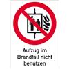 Kombischild Aufzug im Brandfall nicht benutzen
