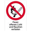 Feuer, offenes Licht und Rauchen verboten mit Symbol