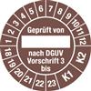 Prüfplakette Geprüft von nach DGUV Vorschrift 3 bis, 2018 - 2023