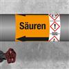 Kennzeichnungsband für Rohrleitungen > 50 mm Ø - Gruppe 6 mit Gefahrensymbol