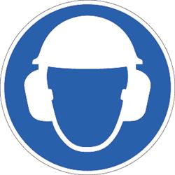 Gehörschutz und Kopfschutz benutzen, Symbole nach ISO 7010