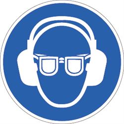 Gehörschutz und Augenschutz benutzen, Symbole nach ISO 7010
