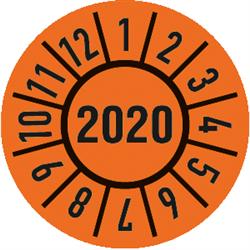 Prüfplakette Jahr 2020 mit Monaten