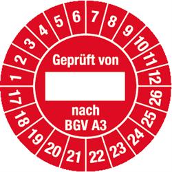 Prüfplakette Geprüft von nach BGV A3 2017 - 2026