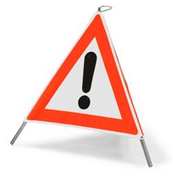 """Faltsignal mit Symbol """"Gefahrstelle"""", mit oder ohne Beschriftung"""