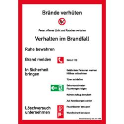 Brandschutzordnung ohne Handfeuermelder nach DIN 14096-Teil A (2000)