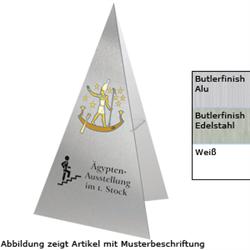 Individuell bedruckte Aufsteller in Dreiecksform aus Aluverbundmaterial