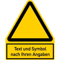Warnzeichen - Symbol und Text nach Ihren Angaben 24,4 x 20 cm