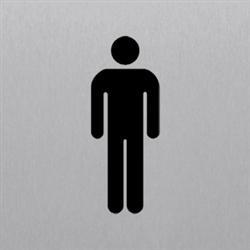 Piktogramm WC Herren, Alu silber eloxiert, 14,8x14,8 cm