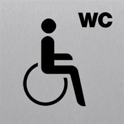 Piktogramm WC Behinderte/barrierefrei, Alu silber eloxiert, 14,8x14,8 cm