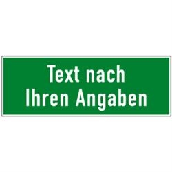 Rettungszeichen rechteckig - Text nach Ihren Angaben