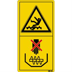 Niemals bei laufendem Motor in den Korntank fassen oder einsteigen.