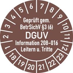 Prüfplakette Geprüft gem. BetrSichV §3 (6) DGUV Information 208-016, 2018 - 2023