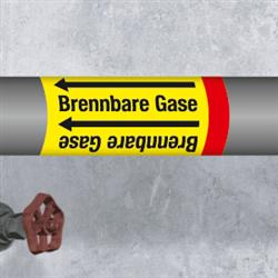 Kennzeichnungsband für Rohrleitungen < 50 mm Ø - Gruppe 4 Brennbare Gase