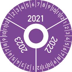 Prüfplakette 3 Jahre 2021/2022/2023 mit Monaten, Folie, Ø 4 cm