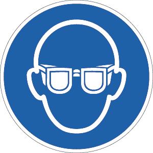 Augenschutz benutzen ISO 7010, Folie, Ø 2 cm, 10 Stück