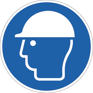Kopfschutz benutzen ISO 7010, Alu, Ø 31,5 cm