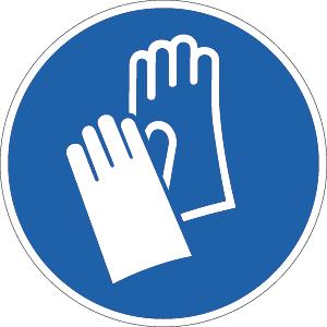 Handschutz benutzen ISO 7010, Alu, Ø 10 cm