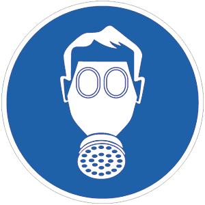 Atemschutz benutzen BGV A8, Alu, Ø 40 cm