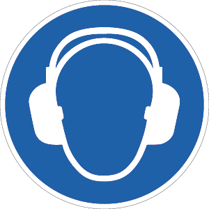 Gehörschutz benutzen ISO 7010, Folie, Ø 5 cm, 10 Stück