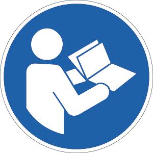 Anleitung beachten ISO 7010, Folie, Ø 5 cm, 10 Stück
