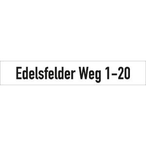 Straßennamenschild bis 20 Buchstaben weiß, Alu, 15x88,5 cm