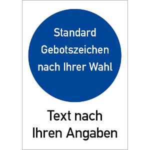 Text und Gebotszeichen nach Ihren Angaben, Alu, 30x20 cm