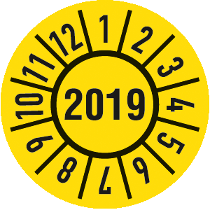 Prüfplakette Jahr 2019 mit Monaten, Dokumentenfolie, Ø 1,5 cm