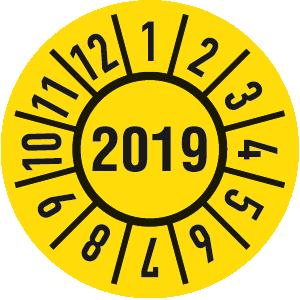 Prüfplakette Jahr 2019 mit Monaten, Folie, 500 Stück auf Rolle, Ø 1,5 cm
