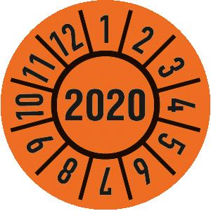 Prüfplakette Jahr 2020 mit Monaten, Folie, ölig, Ø 3 cm