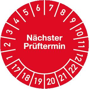 Plakette Nächster Prüftermin 2017 - 2022, Jahresfarbe, Dokumentenfolie, Ø 3 cm