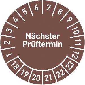 Plakette Nächster Prüftermin 2018 - 2023, Jahresfarbe, Dokumentenfolie, Ø 2,5 cm