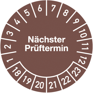 Plakette Nächster Prüftermin 2018 - 2023, Jahresfarbe, Folie, Rolle, Ø 3 cm