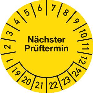 Plakette Nächster Prüftermin 2019 - 2024, Jahresfarbe, Dokumentenfolie, Ø 2,5 cm