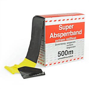 Absperrband gelb/schwarz, Folie, 500 m Länge