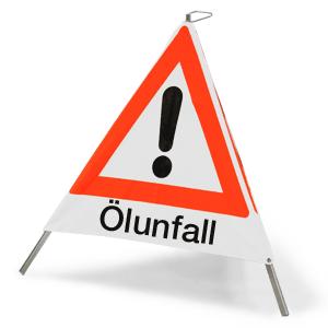 """Faltsignal mit Symbol Gefahrenstelle und Text """"Ölunfall"""", 70 cm SL"""