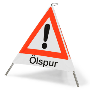 """Faltsignal mit Symbol Gefahrenstelle und Text """"Ölspur"""", 90 cm SL"""