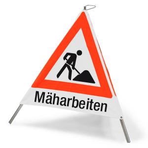 """Faltsignal mit Symbol Baustelle und Text """"Mäharbeiten"""", 90 cm SL"""