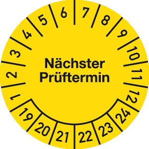 Prüfplakette Nächster Prüftermin 2019 - 2024, Folie, Ø 2,5 cm