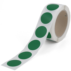 Markierungspunkte blanko, grün, Polypropylenfolie, Ø 3,5 cm, Rolle à 500 Stück