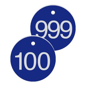 Werkzeugmarken mit Gravur, Alu, eloxiert, Blau, Ø 2 cm