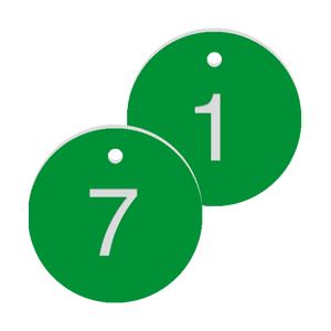 Werkzeugmarken mit Gravur, Alu, eloxiert, Grün, Ø 3 cm