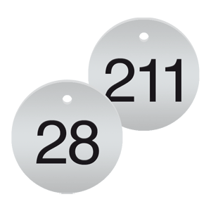 Werkzeugmarken mit Gravur, Alu, eloxiert, Silber, Ø 2 cm