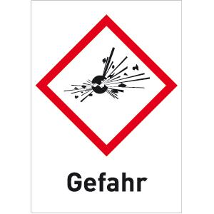 Explosionsgefährlich (GHS 01) Gefahr, Folie, 3,7x2,6 cm, 12 Stück am Bogen
