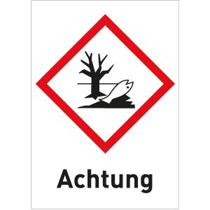 Umweltgefährlich (GHS 09) Achtung, Folie, 5,2x3,7 cm, 6 Stück am Bogen
