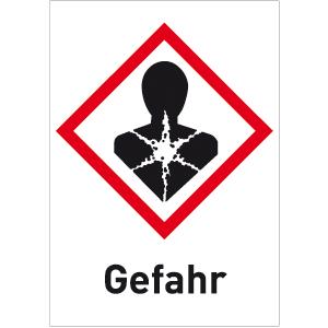 Gesundheitsschädlich (GHS 08) Gefahr, Folie, 500 Stück auf Rolle, 3,7x2,6 cm