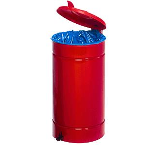 Tretabfallsammler, Rot, Stahlblech, Ø 45 cm, 74 cm Höhe