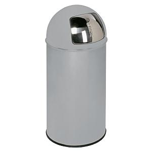 Abfallsammler mit Einwurfklappe, Silber, Stahlblech, Ø 35 cm, 74 cm Höhe