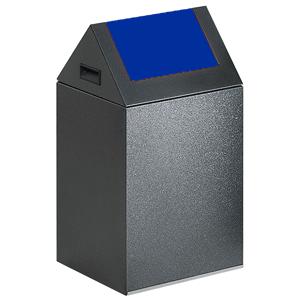 Wertstoff-Sammelgerät mit Schwingdeckel, Stahl, Blau, 60 cm Höhe